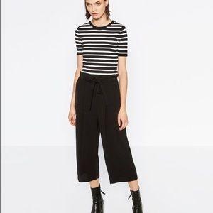 Zara black elastic waist culottes S